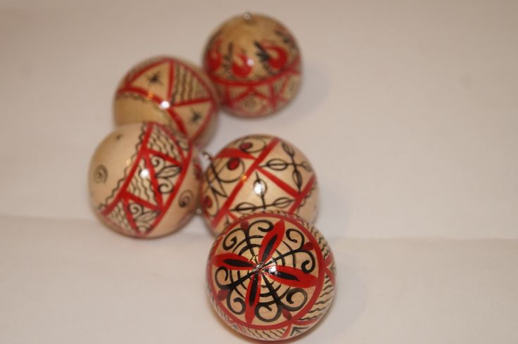 Wooden Ornament balls, Christmas baubles, Red and Golden Mezen painting by…
