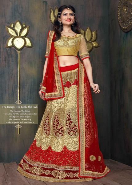 Bridal Red & Beige Netted A Line Indian Lehenga Online Shop ,Indian Dresses - 1