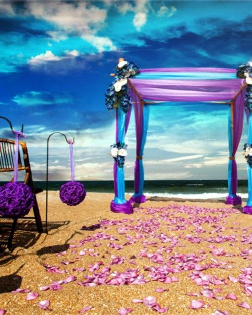 50 Beach Wedding Aisle Decoration Ideas | Purple & Aqua love. Rose petals available at Flyboy Naturals www.flyboynaturals.com http://www.deerpearlflowers.com/50-beach-wedding-aisle-decor-ideas/