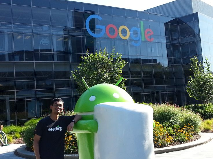 "Intern - 24: I was posing in Google Plex, the main Google HQ as a current Google intern. The word, ""Nestling"" on my shirt means that I'm an intern at Nest Labs which is a part of Google at Mountain View, CA. The statue beside me signifies the Android Marshmallow software that goes inside the smartphones these days."