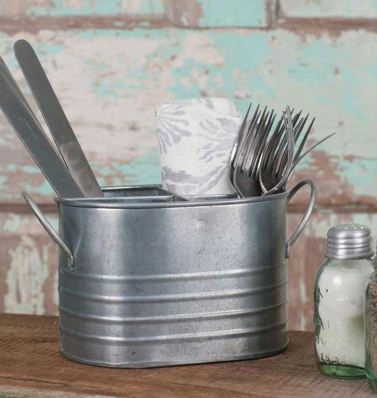 Oval Galvanized 4-Section Flatware, Utensils Caddy  #farmhouse #loft #rusticindustrial #ineedthis #rustic #garden #industrial #glorygracehome #storage https://glory-grace.myshopify.com