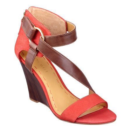"""I like the detail....Its Different....Color block stacked wedge 3 3/4"""" sandal.  Leather upper."""