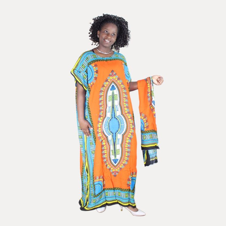 Plus Size Orange and Turquoise Traditional Dashiki Print Kaftan