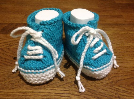 Turquoise Booties Baby SneakersBaby Trainers Cute by Pinknitting