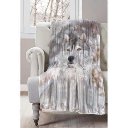 50x60 Grey White Animal Throw Blanket Wildlife Wolf Winter Theme Bedding Wolves Faux Fur Country Rustic Pattern Cottage Cabin Lodge House Soft Husky