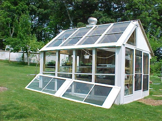 greenhouse made from old windows | this 9 x 12 greenhouse was made from 14 used aluminum double track ...