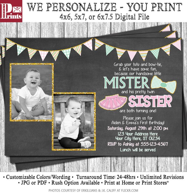 Twins Birthday Invitation - Tutus and Ties Invitation - Boy and Girl Twin Birthday Invitations - Pink and Mint by PuggyPrints on Etsy