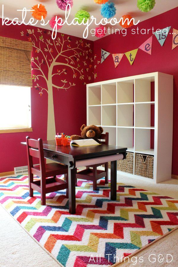 Playroom Inspiration... IKEA Expedit, wall decal, tree wall decal, tissue poms, ceiling tissue poms