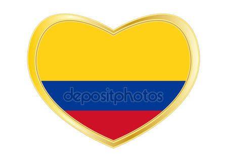 Bandera de Colombia en el marco de la forma, oro de corazón Vectores De Stock Sin Royalties Gratis