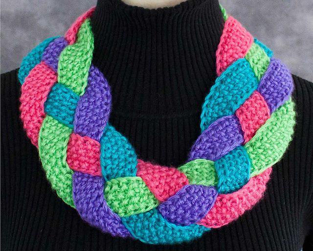 Braided Cowl Knitting Pattern : Free Pattern: Braid-It Bright by 10 Hours or Less Crochet Pinterest Rav...