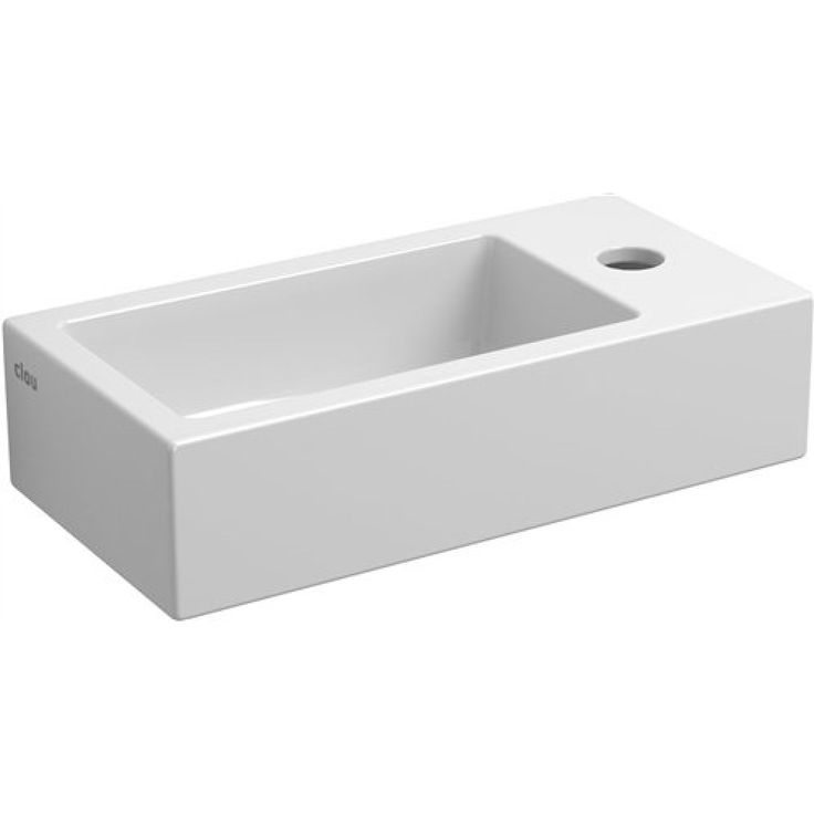 Clou Flush 3 fontein met kraangat en plug rechts wit keramiek B36xH9xD18cm - CL/03.03030 - Sanitairwinkel.nl