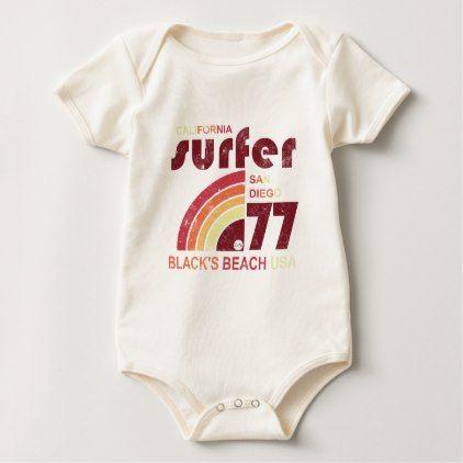 RETRO SURF WEAR BABY BODYSUIT - retro gifts style cyo diy special idea