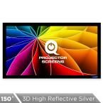 Fixed Frame Projector Screen - 16:9, 150 in. 3D High Reflective Silver 2.5 Gain
