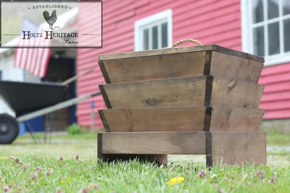 3 bin finished wooden wood red wiggler worm farm composter for Fishing worm farm