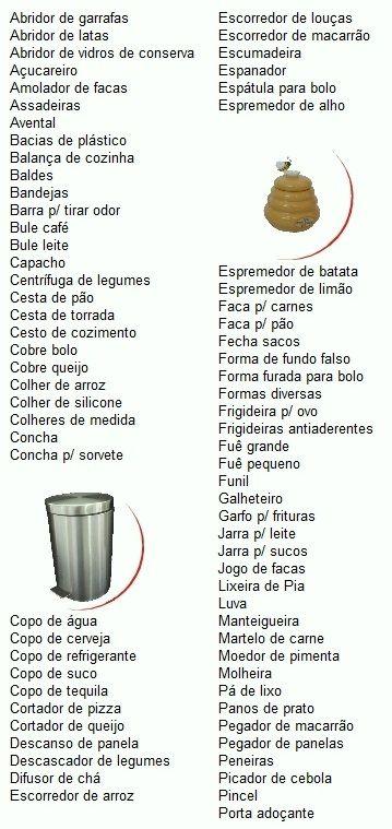 lista de chá de panela