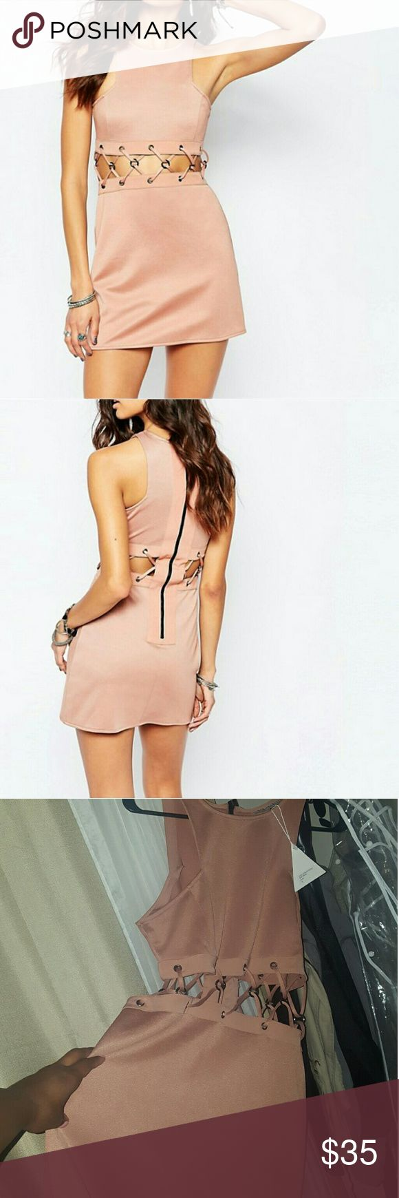 Rok + Rebelle Salmon/rust pink color mini dress with Round neckline Cut-away shoulders Cut-out panel to waist Silver-tone eyelets Lace-up detailing Zip back closure Slim fit AU 14 US 10 runs small like an 8 rok + rebelle Dresses Mini