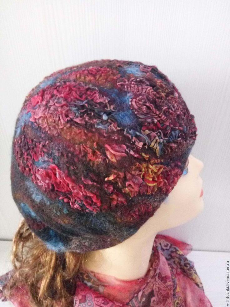 Купить Берет валяный Night city - абстрактный, шапочка валяная, шапка женская, шапочка женская
