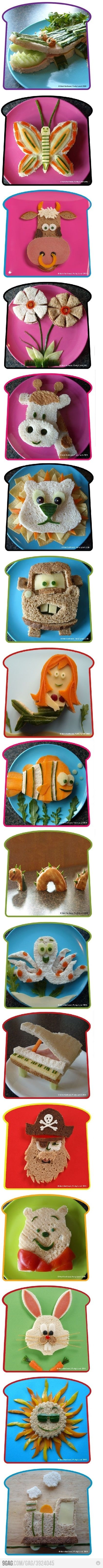 food for kids- darling!: Fun Lunches, Fun Food, Kids Lunches, Kids Sandwiches, For Kids, Lunches Ideas, Sandwiches Ideas, Food Art, Kids Food