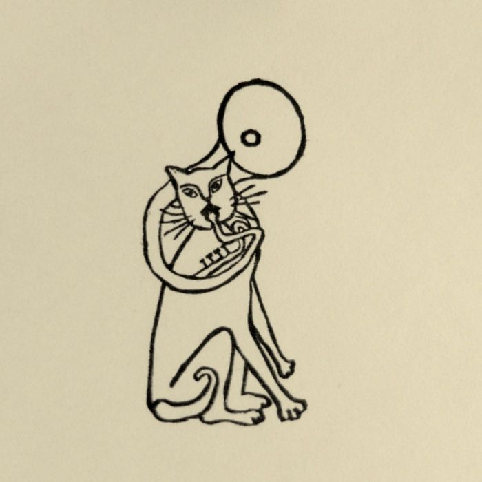 Rubber Stamp №132 — Cat Playing Sousaphone