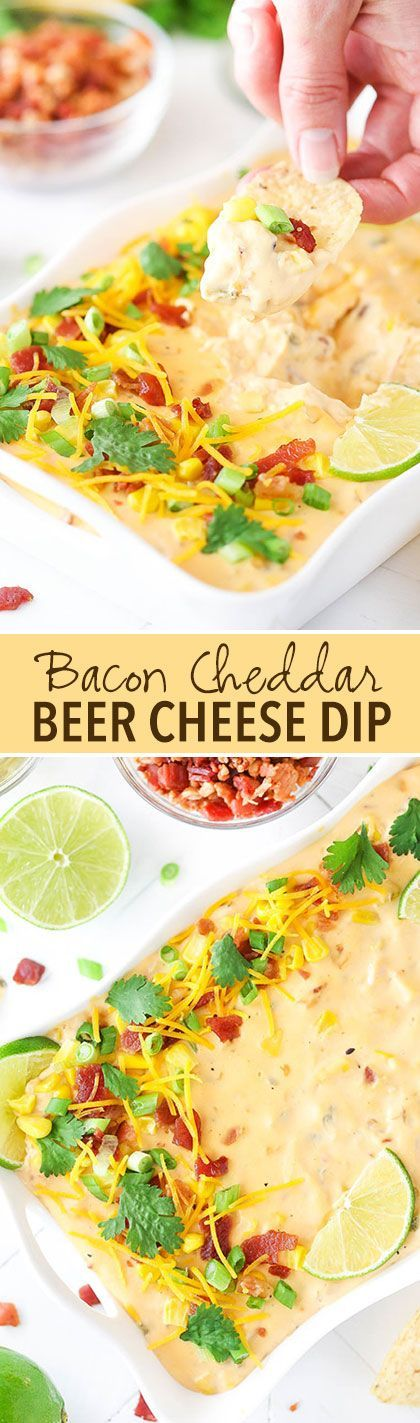 Bacon Cheddar Beer Cheese Dip! So easy to make, delicious and the perfect appetizer for football and parties!