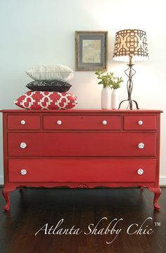 Such a charming antique farmhouse dresser, painted with Miss Mustard Seed's tricycle red milk paint. Love the color, love the legs, love the porcelain knobs…. love it all! :-) www.facebook.com/atlantashabbychic