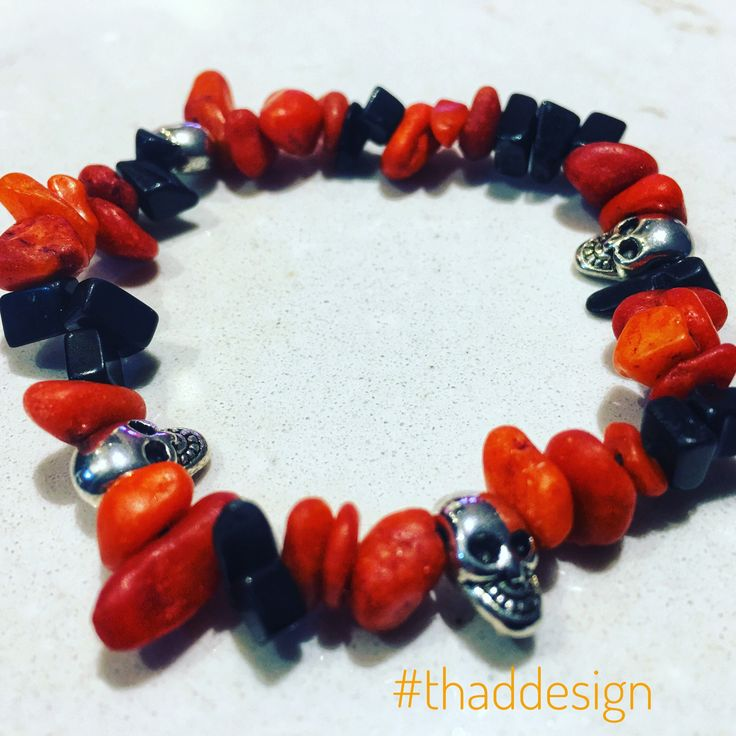 Happy October Everyone!  Here's our first Halloween bracelet Orange dyed quartzite chips, black jasper chips and silver plated metal skulls. 💀 👻 🎃   #halloween #jewelry #bracelet #thaddesign