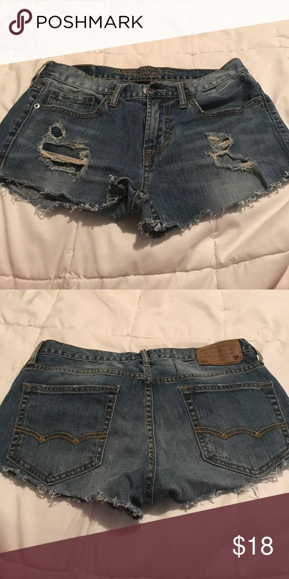 Tattered jean shorts! Tattered jean shorts, mid/ high waisted, medium wash! American Eagle Outfitters Shorts Jean Shorts