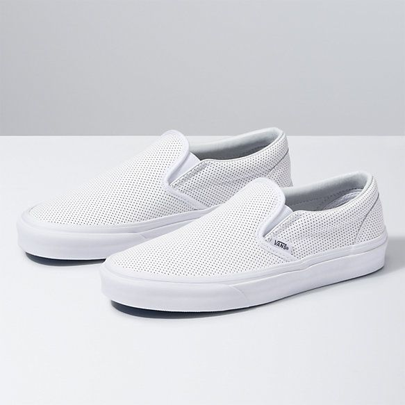 Leather vans, Leather slip ons
