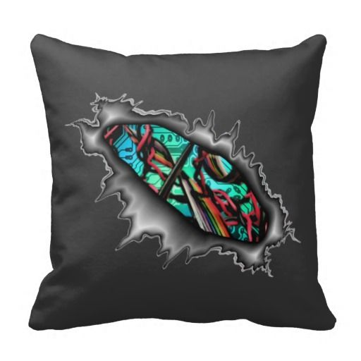 Artificial Circuit Board Wires Pillow - This pillow has a tear in it where you can see a circuit board and wires inside.