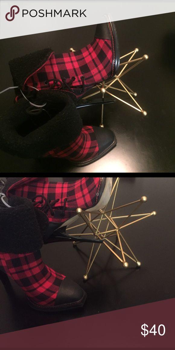 GX by Gwen Stefani Red&Black checker w/fur GX by Gwen Stefani!!! GX by Gwen Stefani Shoes Lace Up Boots