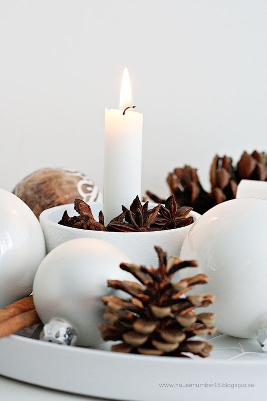 Create a Christmas decoration with spices and pine cones