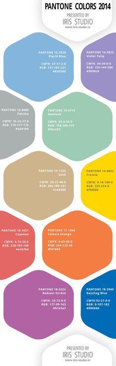 Spring colors of 2014 by Pantone with color codes CMYK, RGB, and HEX. Colores para la primavera 2014 Pantone. Con códigos de colores CMYK, RGB y Hex.