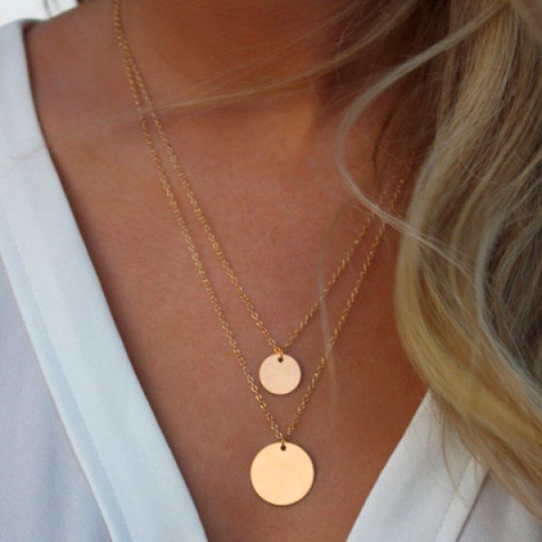 Wholesale Chic Layered Round Sequins Design Necklace For Women Only $1.18 Drop Shipping | TrendsGal.com