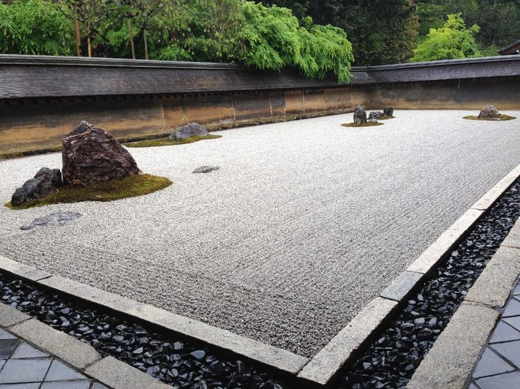Ryoanji temple under the spring rain.