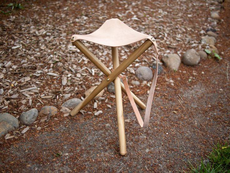 Wood Amp Leather Tripod Camp Stool Diy Instructions Through