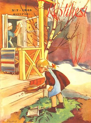 Kotiliesi Magazine cover by Martta Wendelin, 1948.