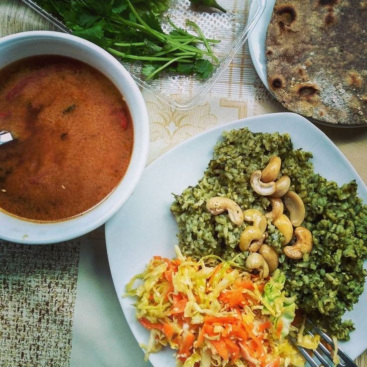 Aleksei Remizov Ⓥ   my another one diy meal - miso soup, salad, green pullav and rye chapatis.
