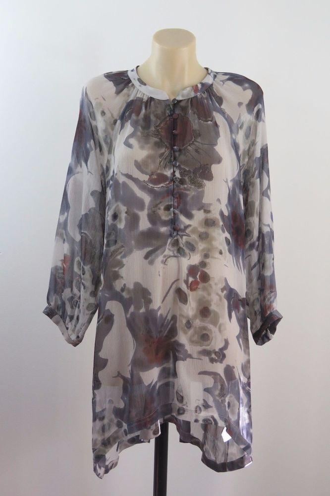 Plus Size S 16 18 Ladies Grey Tunic Shift Retro Chic Vintage Boho Sheer Layer