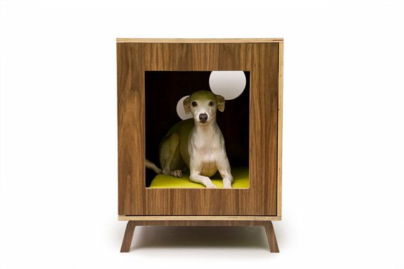 Mid Century Modern Pet Furniture // Dog House // Side Table via Etsy - I think Peanut would LOVE something like this