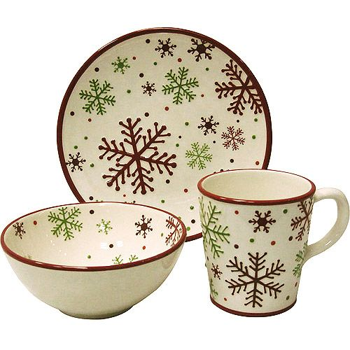 christmas dinner plate set | Christmas Snowflake 12-Piece Dinnerware Set: Kitchen & Dining ...