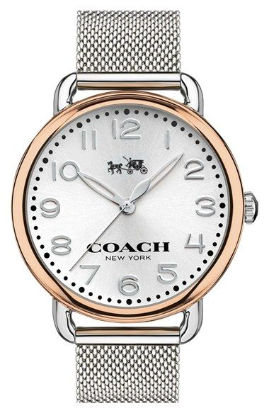 Free shipping and returns on COACH 'Delancey' Round Watch, 36mm at Nordstrom.com. Numbered markers are embossed over the sunray dial of this elegantly logoed watch available in a collectible array of wristbands.