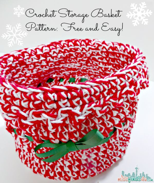 Free Holiday Crochet Patterns: Jingle Bells Basket - easy pattern for Christmas gifts or storage. Fun and cute and would make a great gift.