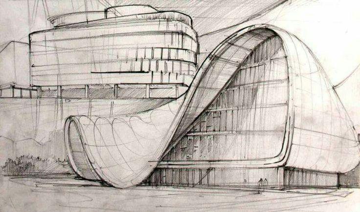 Zaha Hadid sketch, Heydar Aliyev Center, Baku, Azerbaijan