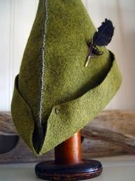 Robin Hood DIY hat idea.  Says basically used a triangle shape for each side, measure head.