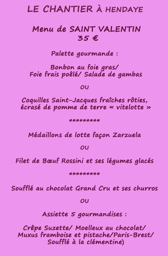 menu st valentin au Chantier à Hendaye