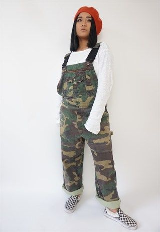 VINTAGE CAMO CAMOUFLAGE LONG DUNGAREES / OVERALLS