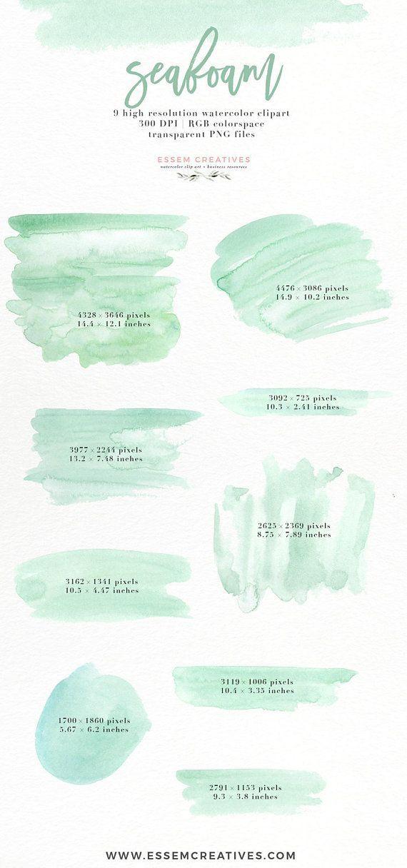 Seafoam Abstract Watercolor Splash Brush Stroke Mint Green