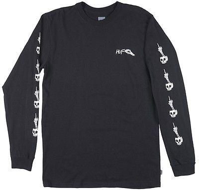 HUF Flip Off Skull and Bone Long Sleeve Shirt Black Tee Skater Fashion Style Men | eBay