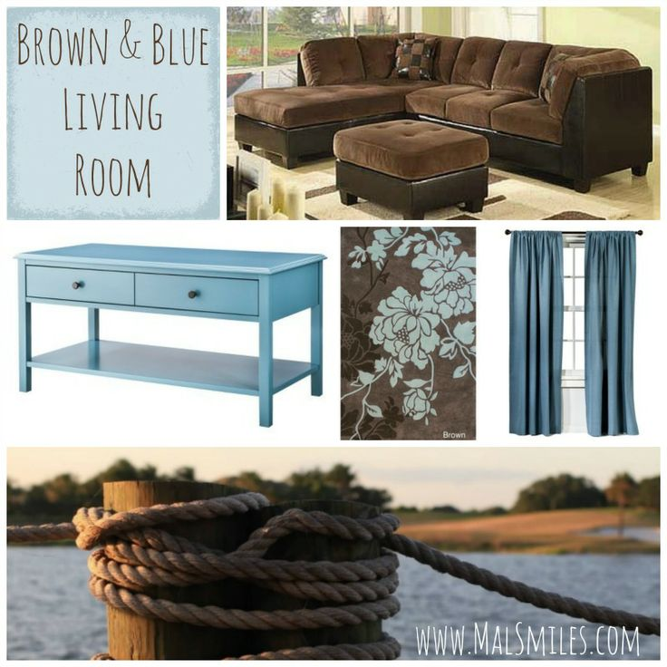 Blue Living Room With Brown Furniture Mal Smiles