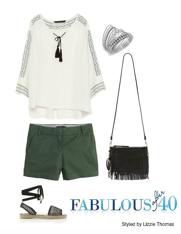 Here's a shorts outfit with a slight hippie vibe | Fabulous After 40